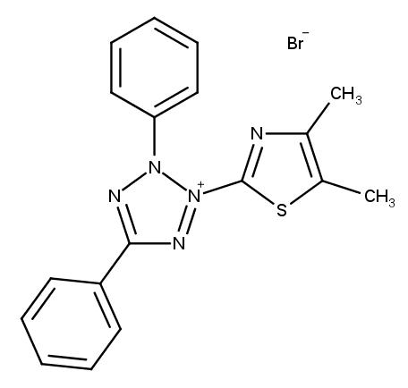 Thiazolyl blue (MTT) 3-(4,5-Dimethyl-2-thiazolyl)-2 ,5-diphenyl-2H-tetrazolium bromide